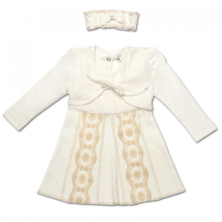 Комплект для девочки ЛИЛИЯ (платье, болеро, повязка) молочный интерлок