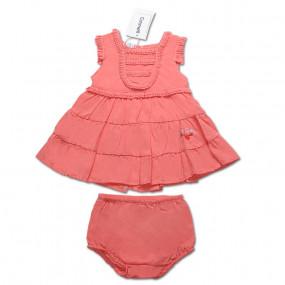 Комплект КОРАЛЛОВЫЙ (платье, трусики) для девочки Caramell, интерлок