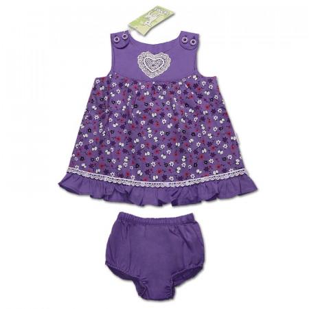 Костюм для девочки Heart (платье и трусики), сирень