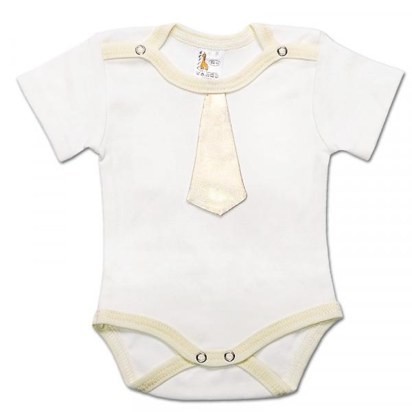 """Боди нарядный для мальчика """"Галстук"""" (кор.рукав) молочный с золотым галстуком"""