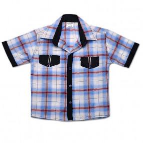 Рубашка КЛЕТКА хлопок, голубая