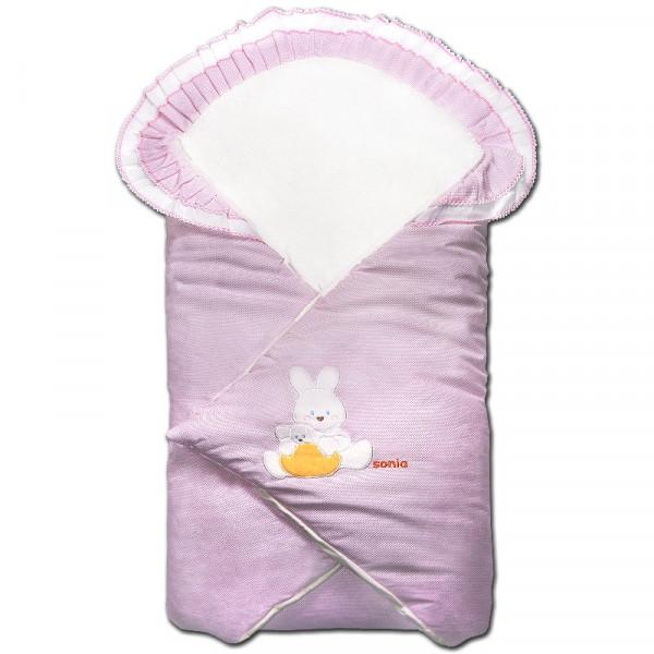 Одеяло-конверт на липучке РОЗОВОЕ в горошек, 90 на 90 см