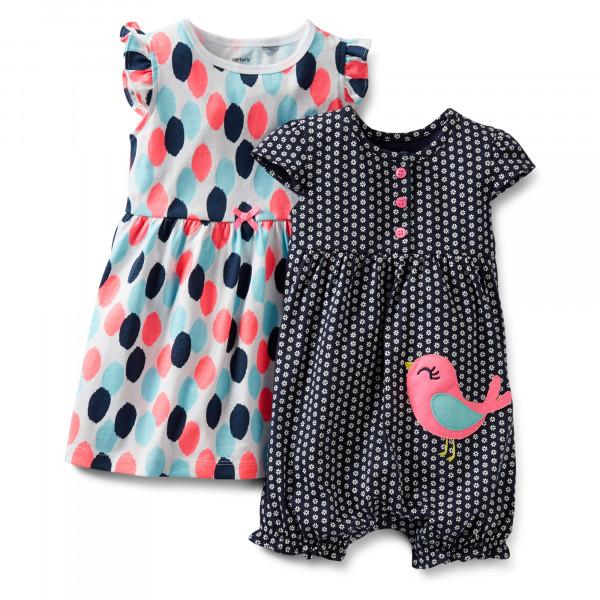 Комплект для девочки ПТИЧКА - 3-Piece Dress & Romper Set
