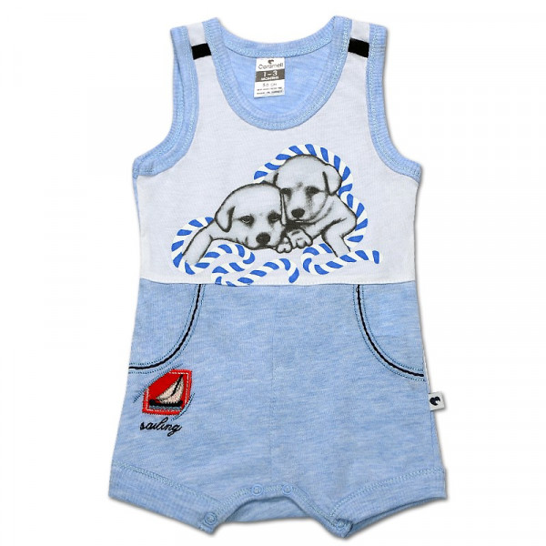 Песочник-майка для мальчика Друзья (интерлок) голубой, Caramell