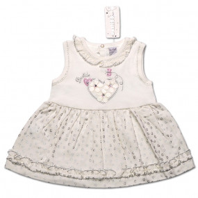 Платье Сердечко для девочки, интерлок (белый с серебром)