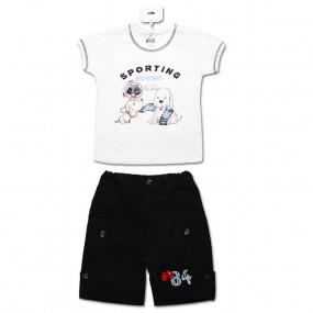 Комплект для мальчика Джордан (футболка, шорты) интерлок (темно-синий)