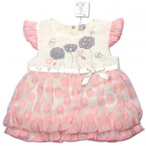 Платье Маргаритка для девочки (персик-молоко), вуаль