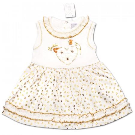Платье Сердечко для девочки, интерлок (молочный с золотом)