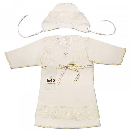 """Кристина-2"" сорочка для хрещення +шапочка (молочный интерлок)"