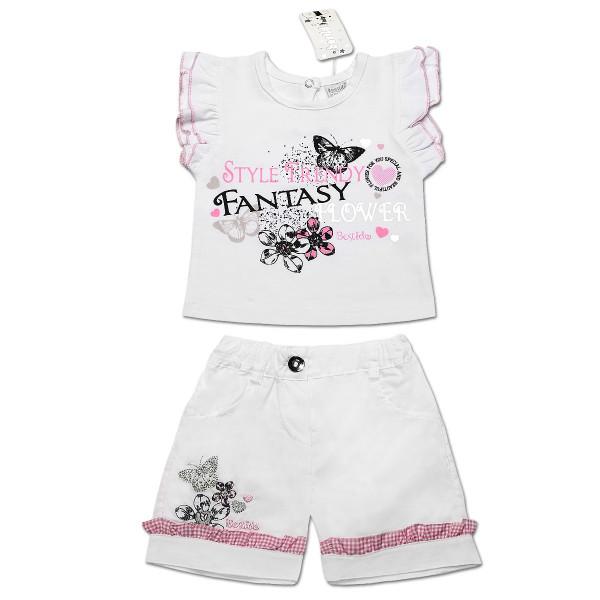 Костюм FANTASY (футболка, шорты) для девочки (розовый), интерлок
