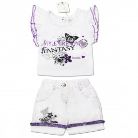 Костюм FANTASY (футболка, шорты) для девочки (сирень), интерлок