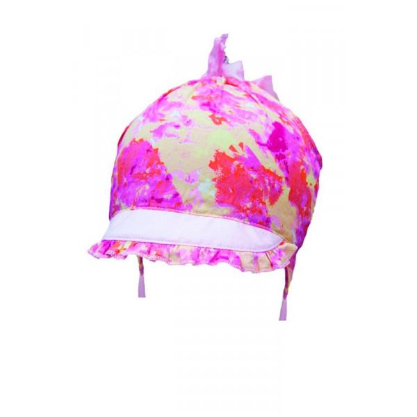 Панамка-кепка для девочки Луция (с завязками), цветочный принт