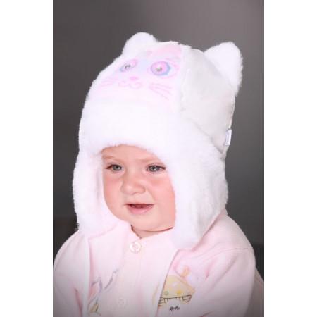 Шапка зимняя МУРЗИК, бело-розовый
