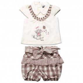 Комплект для девочки Клетка Caramell (футболка и шорты) кофе, интерлок (56-68)