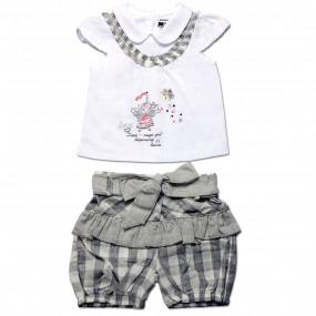 Комплект для девочки Клетка Caramell (футболка и шорты) серый, интерлок (56-68)