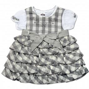 Платье Клетка Caramell (серое), интерлок (62-74)