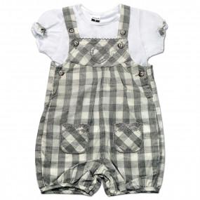 Комплект для девочки Клетка Caramell (комбинезон и футболка) серый, интерлок (56-68)