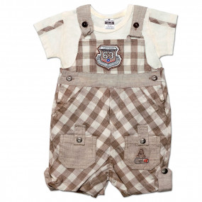 Комплект Клетка Caramell (комбинезон, футболка) для мальчика, кофе (56-68)