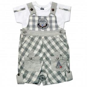 Комплект Клетка Caramell (комбинезон, футболка) для мальчика, серый (56-68)