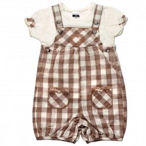 Комплект для девочки Клетка Caramell (комбинезон и футболка) кофе, интерлок (56-68)