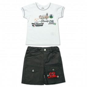 Комплект для мальчика Скаут (футболка, шорты) интерлок (серый)