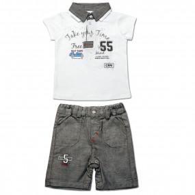 Комплект ля мальчика Фристайл (футболка, шорты) интерлок (серый)
