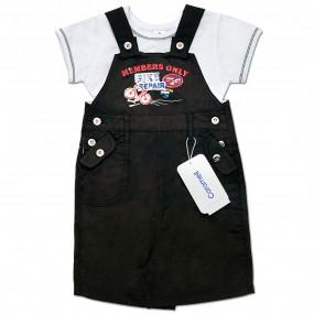 Комплект для мальчика Байк (комбинезон, футболка) интерлок (графит)