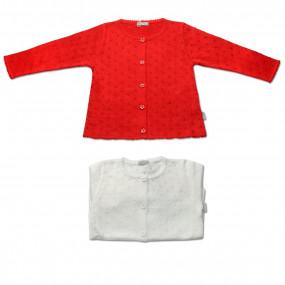 Кофта для девочки Ажурная (красный, белый)