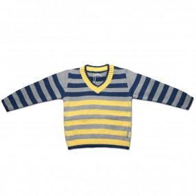 Свитер для мальчика полоска (сине-желтый)