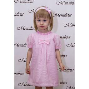 Платье нарядное летнее (розовое в сердечки) мод. 0715, MonaLiza