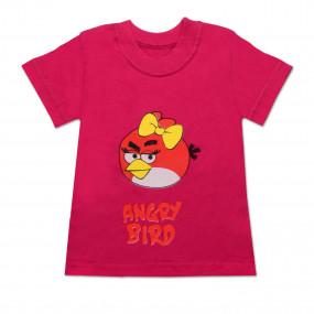 Футболка для девочки Angry Bird, малиновая (86-98 см)
