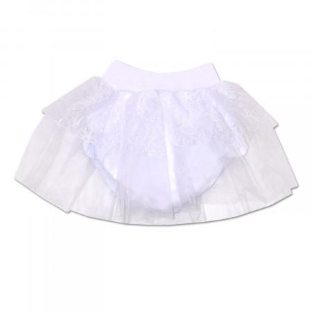 Трусики под памперс нарядные с фатиновой юбкой, белые