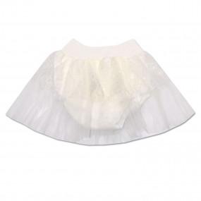 Трусики под памперс нарядные с фатиновой юбкой, молочные