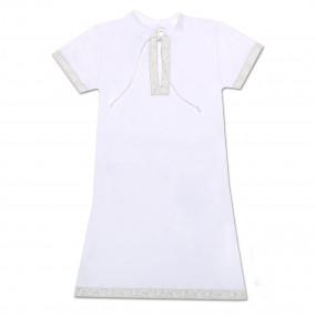 """""""Кристиан-2"""" крестильная рубаха (белый с серебром), короткий рукав"""