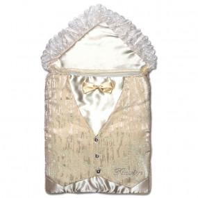 Конверт нарядный для мальчика ПРИНЦ (облегченная весна), молочный