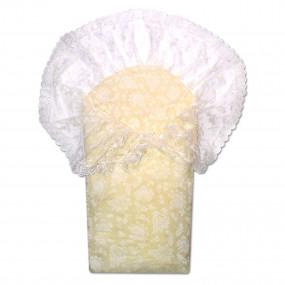 Конверт-одеяло с ажурной перелиной 90х90 см, осень/весна, беж