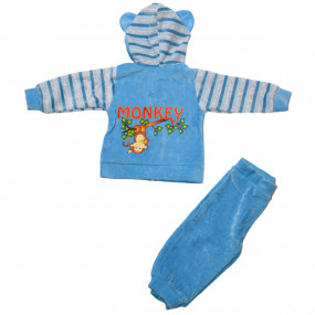 Костюм спортивный для мальчика Monkey (голубой велюр), Lotex