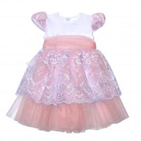 """Платье торжественное """"Сяйво"""" короткий рукав, розовое"""