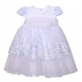 """Платье торжественное """"Сяйво"""" короткий рукав, белое"""