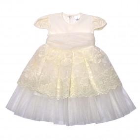 """Платье торжественное """"Сяйво"""" короткий рукав, молочное"""