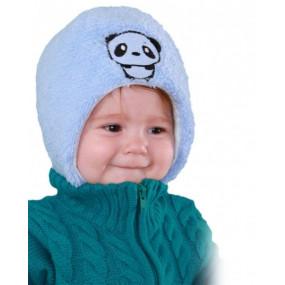 Шапка зимняя на синтепоне Панда, голубой