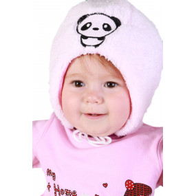 Шапка зимняя на синтепоне Панда, розовый
