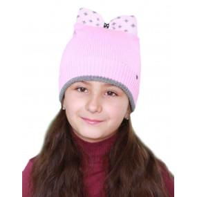 Шапка зимняя Бритни (вязка на синтепоне), розовый