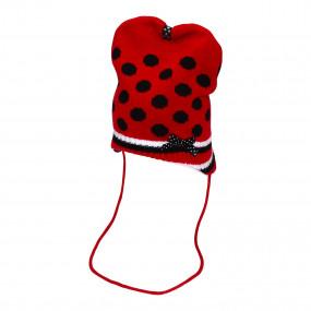 Шапка на завязках демисезонная Микки, красный