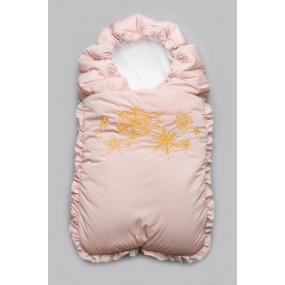 """Конверт-одеяло на выписку зимний """"Снежинки"""", персиковый"""