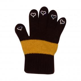 Перчатки Laura Star на 5-8 лет полушерсть (шерсть 50%, акрил 50%), шоколад с жёлтым