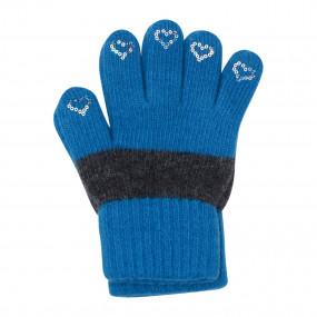 Перчатки Laura Star на 5-8 лет полушерсть (шерсть 50%, акрил 50%), бирюза с серым