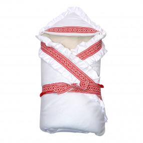 Конверт-одеяло ЛЮБЛЮ УКРАИНУ на овчине (красный)