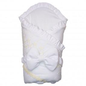 Конверт-одеяло велюр на флисе Milena для новорожденнs[ (белый c молоком), пояс-резинка
