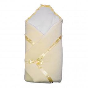Конверт-одеяло Ласточка велюр на синтепоне (зимний), молочнй 80 х 80 см